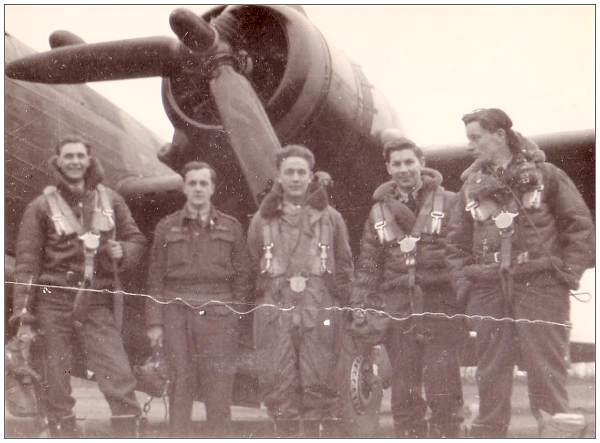 Crew LL955 - with five RAFVR members - 'Roy, Me, Frank, Ron, Bill.'