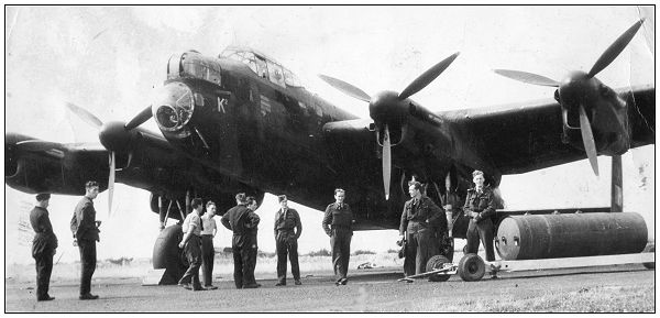 Sgt. John Johnstone Sloan - 3rd Right - in front Lancaster K2 - likely summer 1943, Elsham Wolds