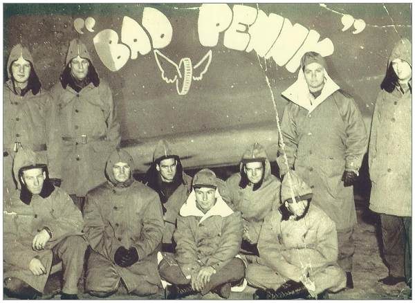 Crew in front of 'Bad Penny', 20 Sep 1943, Iceland