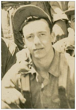 Crop of crew photo - Ball Turret Gunner - S/Sgt. Emil B. Barney