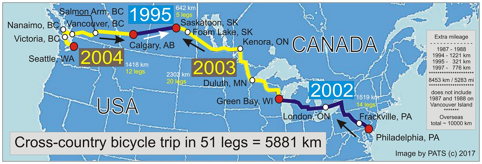 Cross-country in 51 legs - CANADA/USA - 5881 km - 3654 mi
