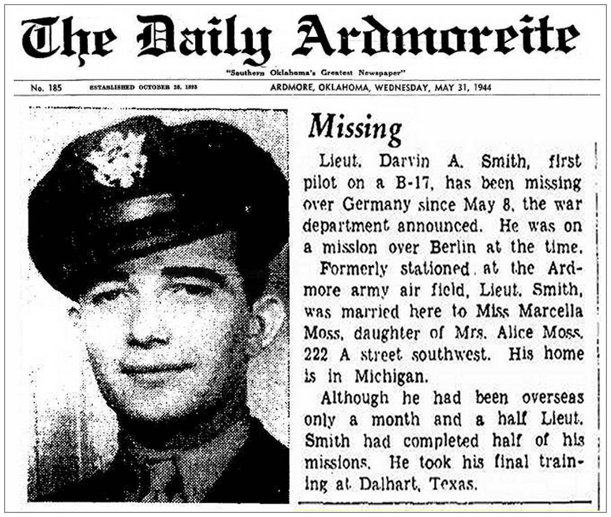 MISSING - Lt. Darvin A. Smith - The Daily Ardmoreite, OK - 31 May 1944
