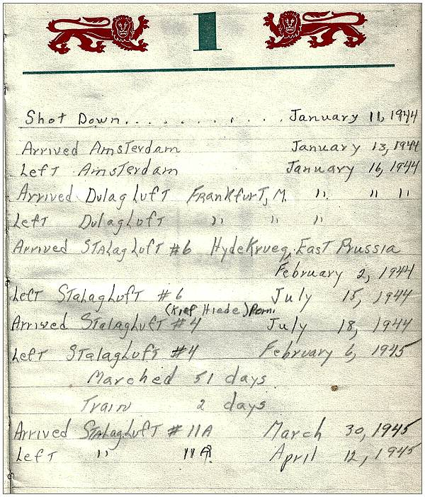 Dates from 11 Jan 1944 to POW Camps - T/Sgt. Vernon Pierce Brubaker Jr. - logbook