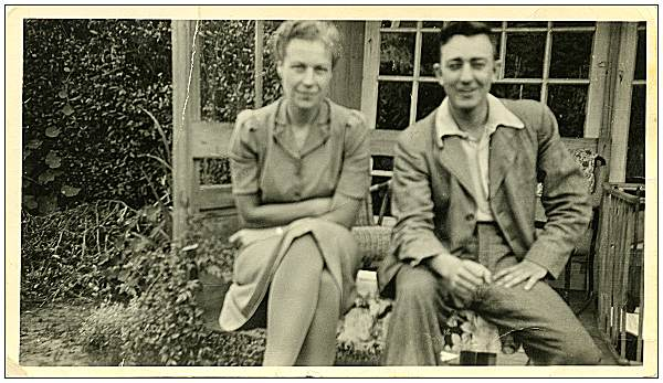 2nd  Lt. - Navigator - Marlowe Bayne Olson - with Mrs. de Groot in Surhuisterveen - 1944