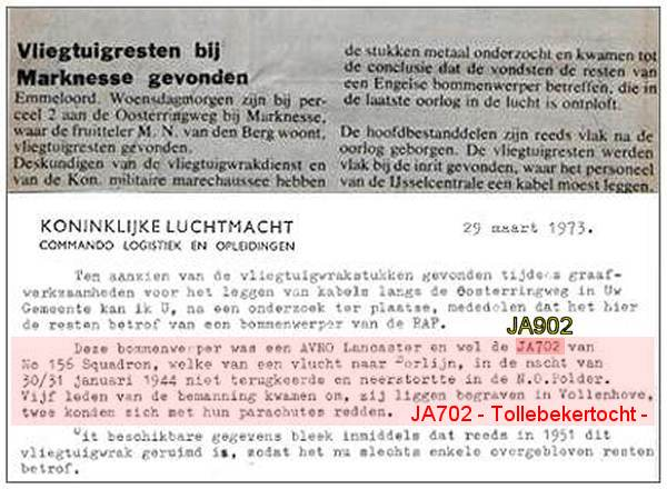 Debris found - March 1973 - clip letter of Bergingsdienst KLu - 29 Mar 1973 . . . . . It's JA902 - info PATS - 08 Nov 2018
