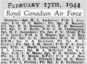 17th Feb 1944 - RCAF - Missing