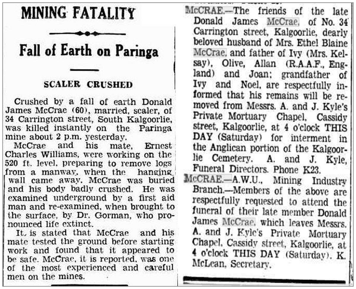 11 Jun 1942 - Mining accident - Donald James McCrae