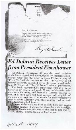 Ed Dobran receives letter from president Eisenhower