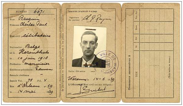Fake ID - Charles Paul Rasquin - Alan R. Willis while in Belgium