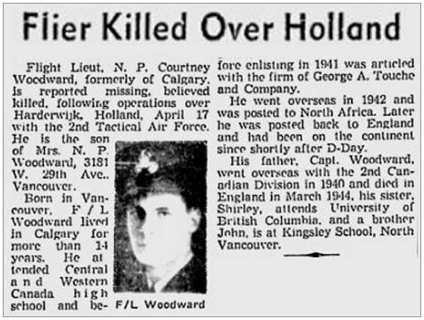 Flier Killed Over Holland - F/Lt. N. P. C. Woodward - Age 23