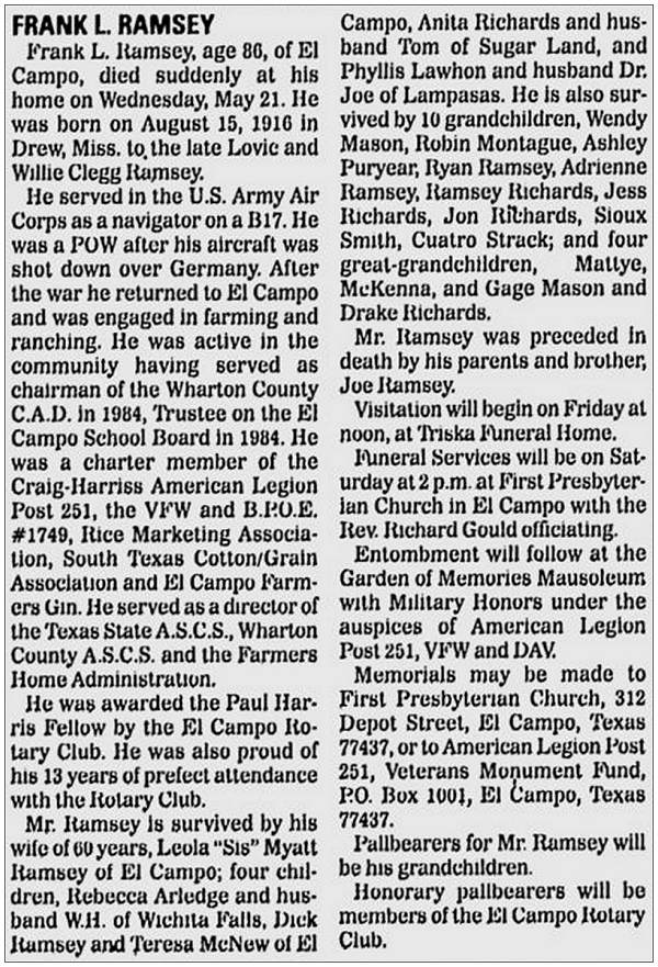 The Victoria Advocate - obituary - Frank L. Ramsey