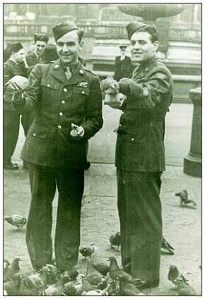 l-r: - Earl Lambert and Jim Harnish - Trafalgar Square - London - 1943