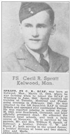 Flight Sergeant - Cecil Robert Spratt - RCAF - News clips
