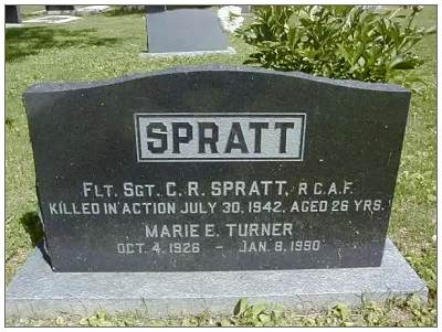 Flight Sergeant - Cecil Robert Spratt - RCAF - Commerative Headstone, Kelwood, MB