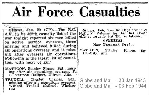 R.C.A.F. - casuality lists 485 - 795 - Globe and Mail - 30 Jan 1943 - 03 Feb 1944