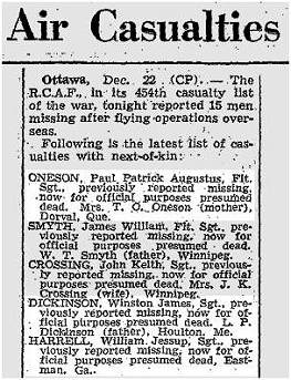 Globe and Mail - 23 Dec 1942 - Oneson - Dickinson - Harrell