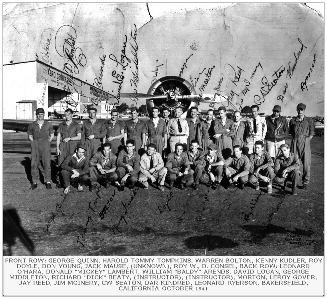 Leonard William O'Hara - RAF Refresher Course Class Graduation at Bakersfield, CA - Oct 1941