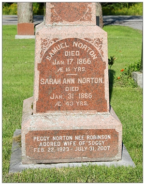 Grave marker - Peggy Norton née Robinson - Bethany United Cemetery - Ramsayville, ON