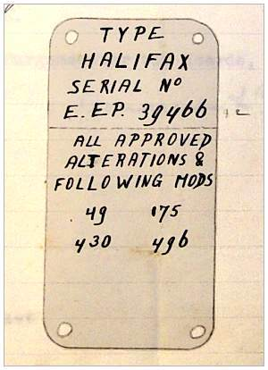 Halifax DT795 - sketch serial plate