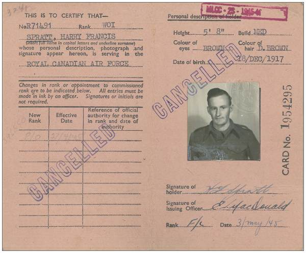 R/71491 - WO1 - Harry Francis Spratt - RCAF - ID Card No. 1954295