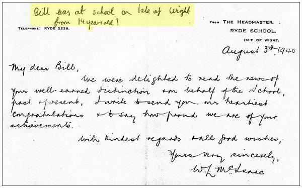 Letter to Bill - 03 Aug 1940 - Headmaster Ryde School, Isle of Wight