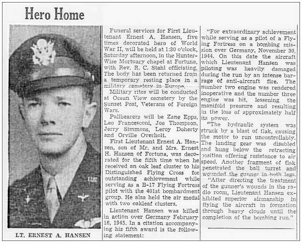 Newsclip - Hero Home - Lt. Ernest A. Hansen