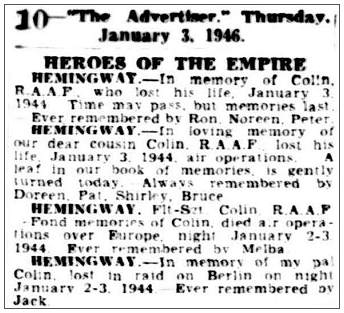 HEROES OF THE EMPIRE - IN MEMORIAM - 03 Jan 1946