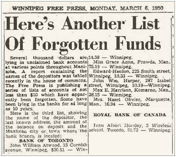 $21.73 - Forgotten Funds - Ivan Albert Horsley - 06 Mar 1950, Page 13