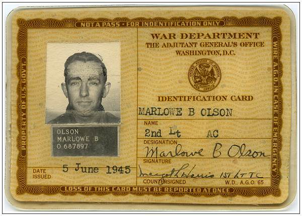 O-687897 - 2nd Lt. Marlowe B. Olson - Identification card - 05 Jun 1945