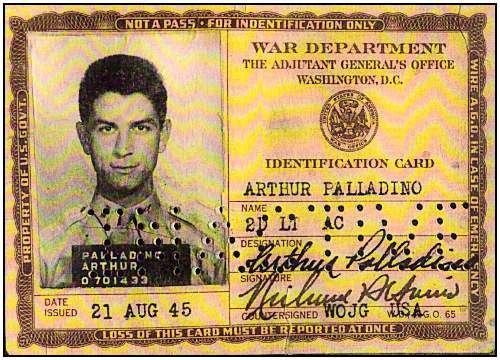 ID card - 2nd Lt. Arthur Palladino - 21 Aug 1945