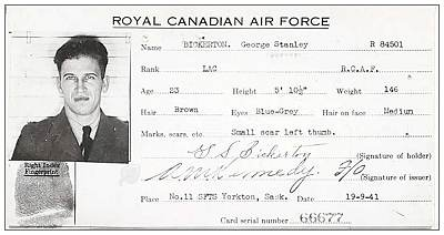 R/84501 - LAC - George Stanley Bickerton - RCAF - 19 Sep 1941