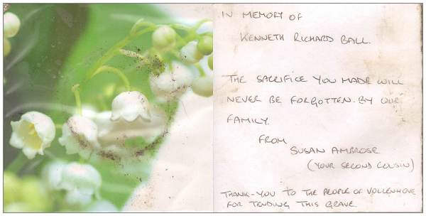 In memory of Kenneth 'Ken' Richard Ball .... by Susan Ambrose née Dunderdale (2nd cousin) - 11 Oct 2016