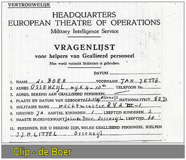 Jan Jette de Boer - Vragenlijst / Questionnaire for helpers of Allied Personnel - Oct 1945