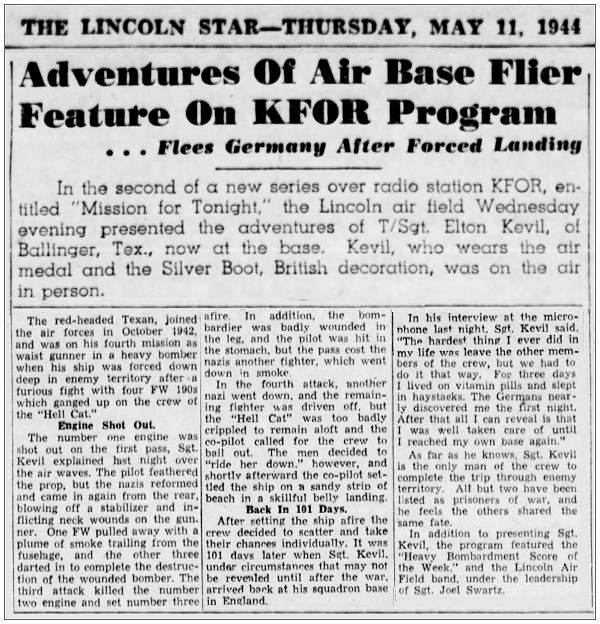 THE LINCOLN STAR - Newsclips - Kevil - 11 May 1944
