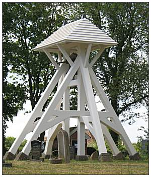 Belfry/Klokkenstoel (build 1953) at cemetery of Mirns