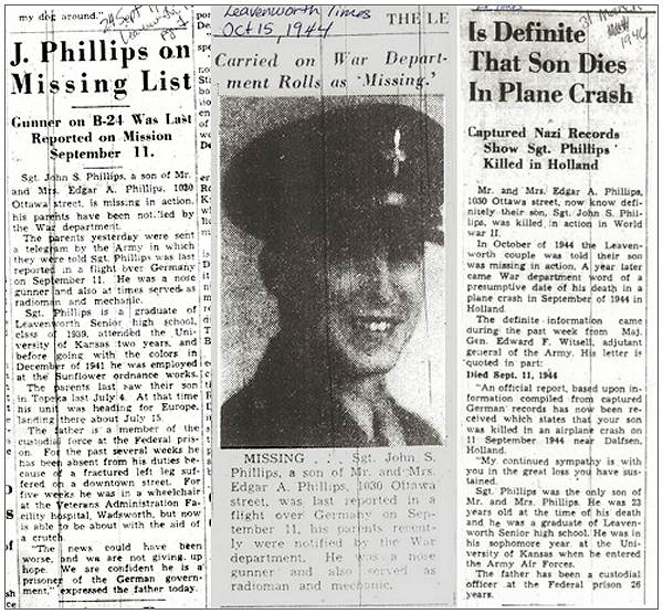 Clips - Leavenworth Times - 24 Sep 1944 - 15 Oct 1944 - 31 Mar 1946 - Sgt. John S. Phillips