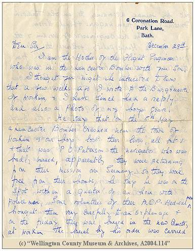 Letter Mrs. Ethel Clark to Mr. G. E. Reynolds - 29 Dec 1943