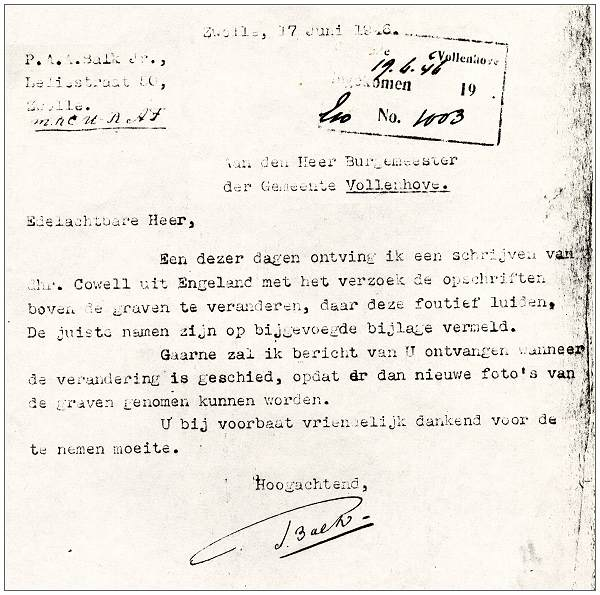 Letter regarding graves - correction names by Mr. Cowell - 17 Jun 1946