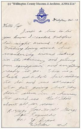 Letter by Sgt. George William Francis Reynolds - RCAF - 12 Oct 1942, No. Y Depot, Halifax, NS