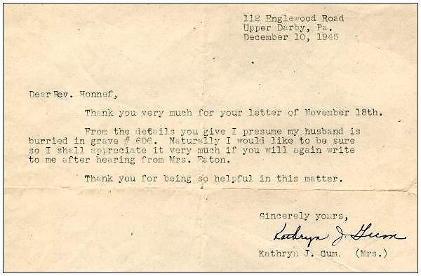 10 Dec 1945 - Letter of Mrs. Kathryn J. Gum to Rev. Honnef