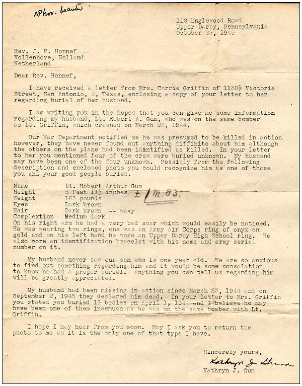 22 Oct 1945 - Letter of Mrs. Kathryn J. Gum to Rev. Honnef
