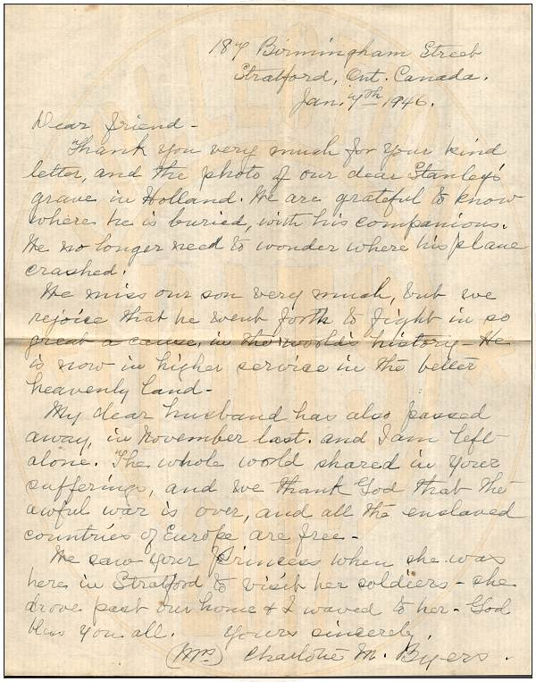 07 Jan 1946 - Letter of Mrs. Charlotte Byers (mother) to Mr. Cor Meurs