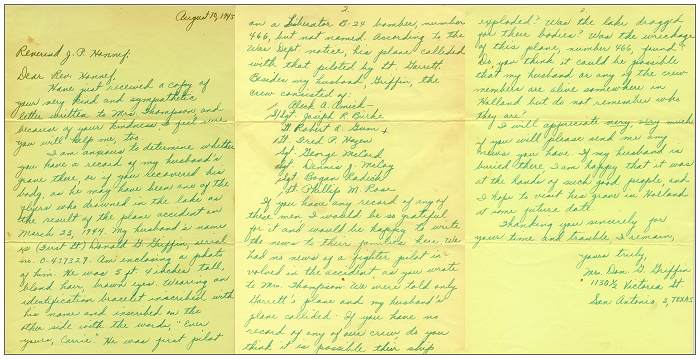 10 Aug 1945 - Letter of Mrs. Don G. Griffin to Rev. Honnef