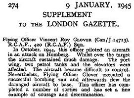 London Gazette - J-14713 - F/Lt. Vincent Roy Glover