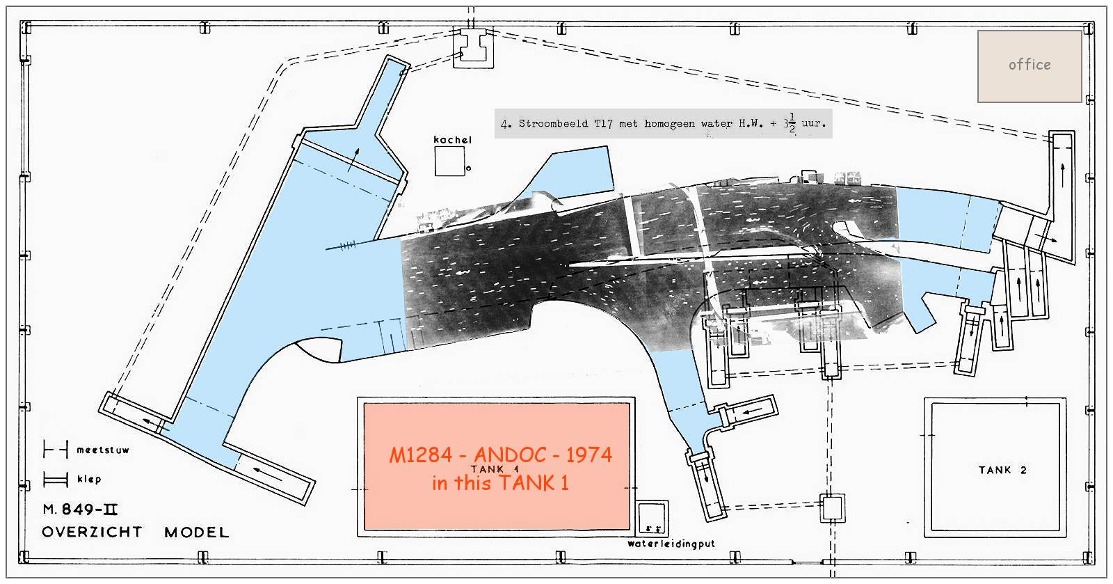 M 849 - Layout scale model with 'stroombeeld' T17 (current pattern T17) as overlay