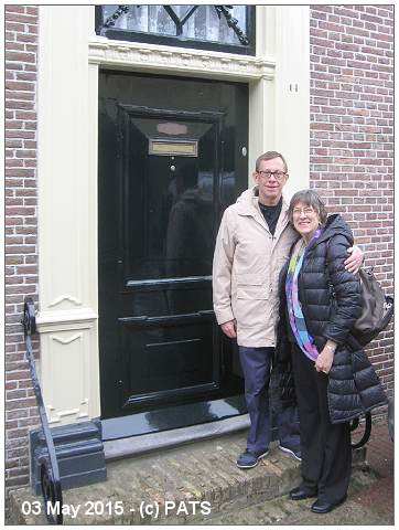Marla and Glenn at doorstep of Kerkstraat 14 on May 3rd 2015