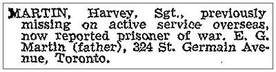 Globe and Mail - 17 Apr 1943 - Harvey Martin, POW