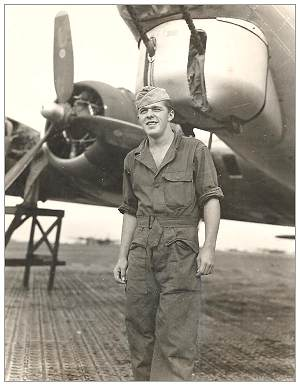 31289647 - S/Sgt. - Left  Waist Gunner - James Thomas McPadden - in front of B-17G