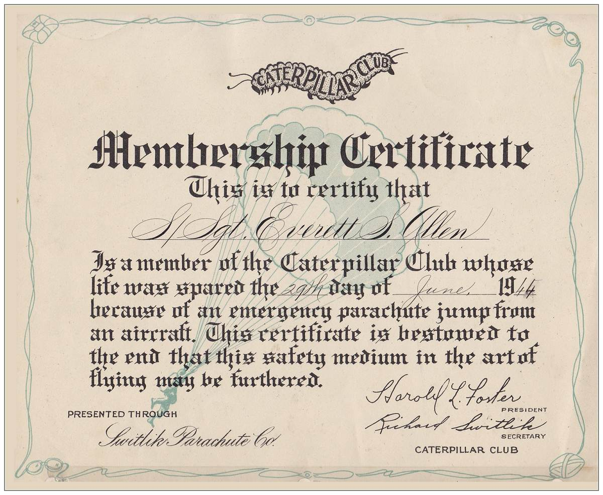Membership Caterpillar Club - S/Sgt. Everett S. Allen