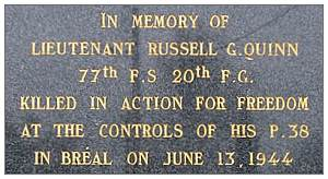 19077234 - O-740557 - 1st Lt. Russell G. Ouinn - Memorial in Bréal, France